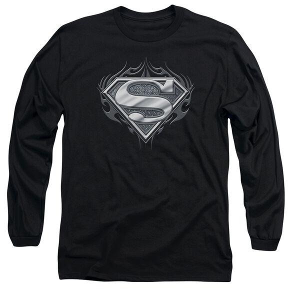 SUPERMAN BIKER METAL - L/S ADULT 18/1 - BLACK T-Shirt
