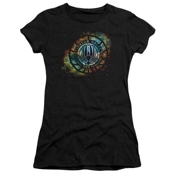 Battlestar Galactica (New) Emblem Knock Out Short Sleeve Junior Sheer T-Shirt