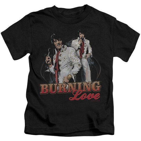 Elvis Burning Love Short Sleeve Juvenile Black T-Shirt