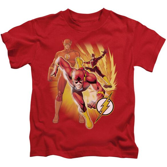 Jla Flash Collage Short Sleeve Juvenile Red Md T-Shirt