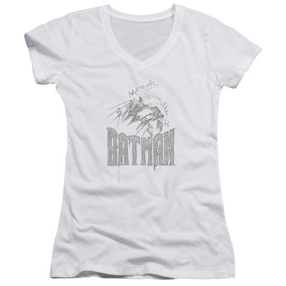 Batman Knight Sketch Junior V Neck T-Shirt