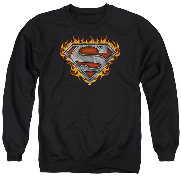 Superman Iron Fire Shield Adult Crewneck Sweatshirt
