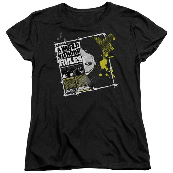 Dark Knight World Without Rules Short Sleeve Womens Tee Black T-Shirt