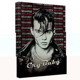 Cry Baby Drapes And Squares Canvas Wall Art With Back Board