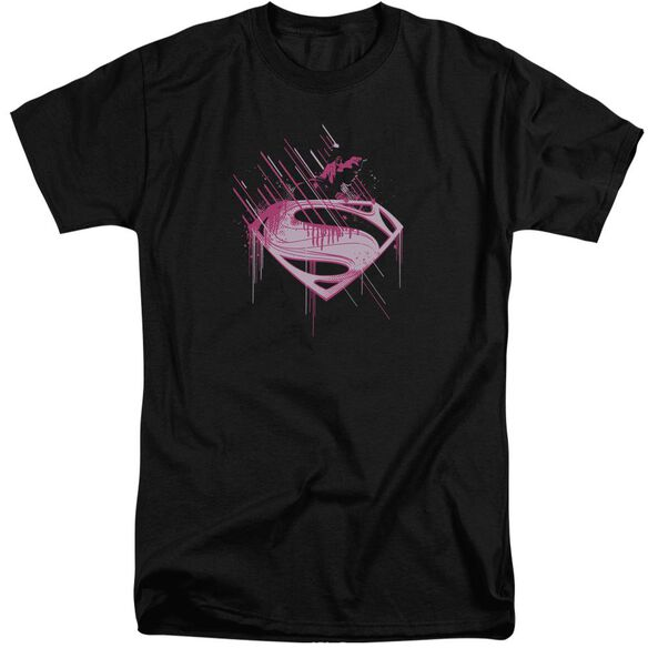Man Of Steel Pink Splatter Short Sleeve Adult Tall T-Shirt