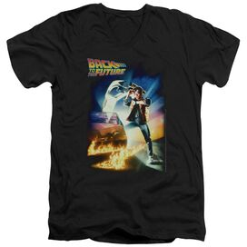 BACK TO THE FUTURE POSTER - S/S ADULT V-NECK 30/1 - BLACK T-Shirt