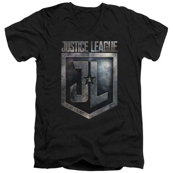 Justice League Movie Shield Logo Short Sleeve Adult V Neck T-Shirt