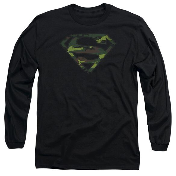 Superman Distressed Camo Shield Long Sleeve Adult T-Shirt