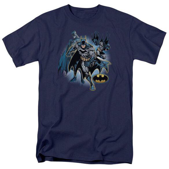 Jla Batman Collage Short Sleeve Adult T-Shirt
