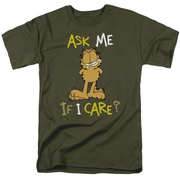 Garfield Ask Me If I Care Short Sleeve Adult Military Green T-Shirt