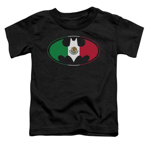 Batman Mexican Flag Shield Short Sleeve Toddler Tee Black Sm T-Shirt