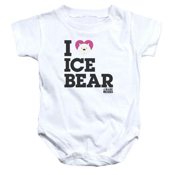We Bare Bears Heart Ice Bear Infant Snapsuit White