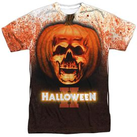 HALLOWEEN II PUMPKIN SKULL - S/S ADULT 100% POLY CREW - WHITE - XL T-Shirt