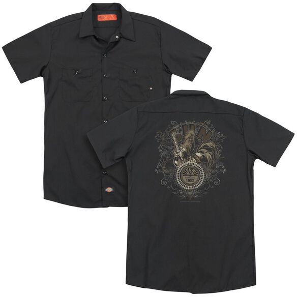 Sun Scroll Around Rooster (Back Print) Adult Work Shirt