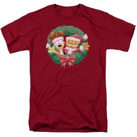 Garfield Christmas Wreath Short Sleeve Adult Cardinal T-Shirt