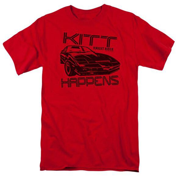 Knight Rider Kitt Happens Short Sleeve Adult Red T-Shirt