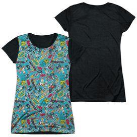 Teen Titans Go Pattern Short Sleeve Junior Poly Black Back T-Shirt