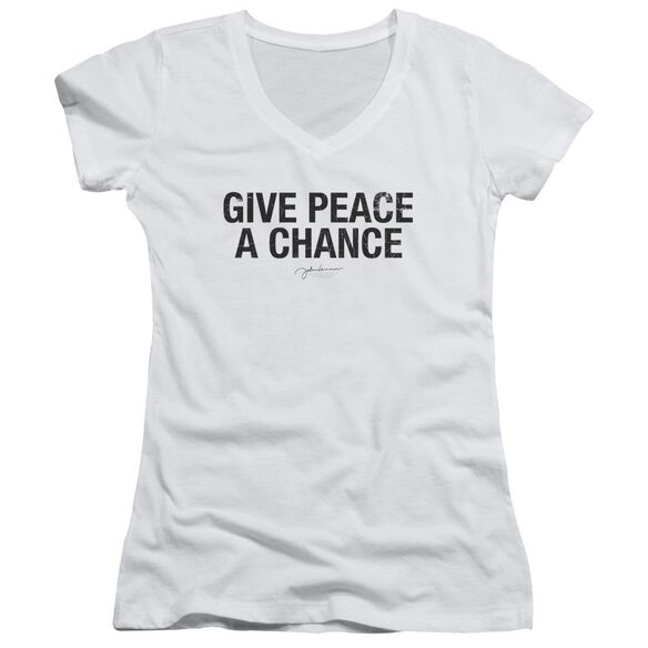 John Lennon Give Peace A Chance Junior V Neck T-Shirt