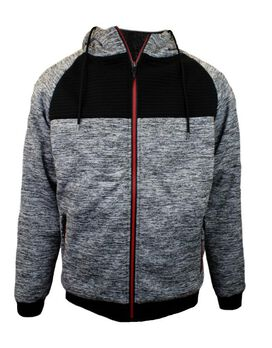 Sherpa Bomber Jacket with Red Zipper [Grey]