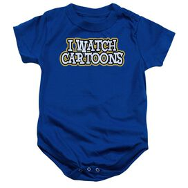 I Watch Cartoons Infant Snapsuit Royal Blue Lg