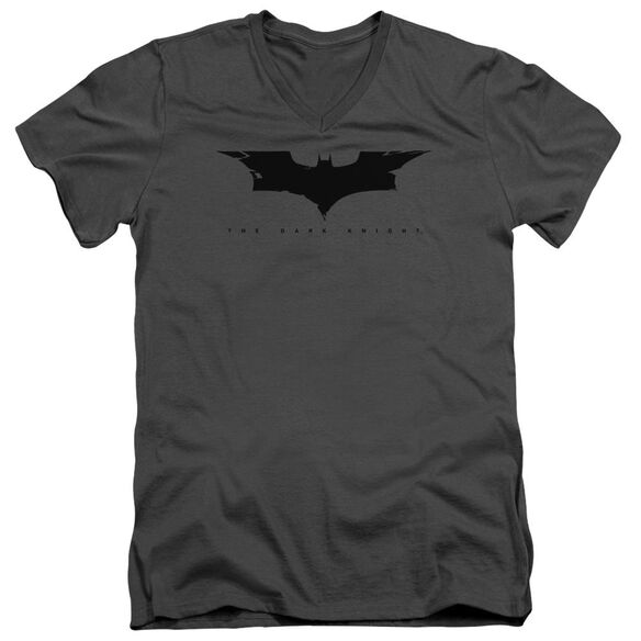Dark Knight Cracked Bat Logo Short Sleeve Adult V Neck T-Shirt