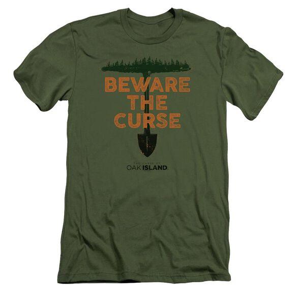 The Curse Of Oak Island Beware The Curse Short Sleeve Adult Military T-Shirt