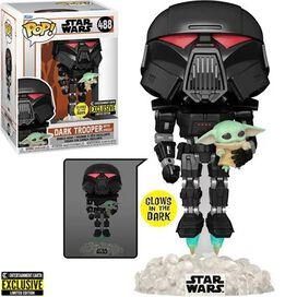 Funko Pop! Star Wars: The Mandalorian Dark Trooper with Grogu Glow-in-the-Dark Pop! Vinyl Figure - Entertainment Earth Exclusive