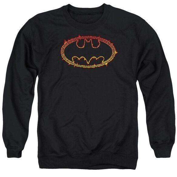 Batman Flame Outlined Logo Adult Crewneck Sweatshirt