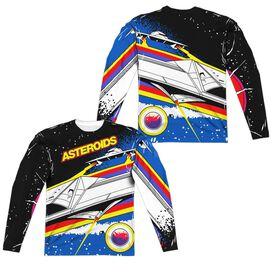 Atari Asteroids Arcade (Front Back Print) Long Sleeve Adult Poly Crew T-Shirt