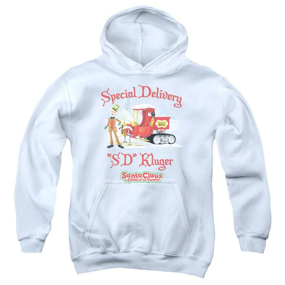 Santa Claus Is Comin To Town Kluger-youth Pull-over Hoodie - White