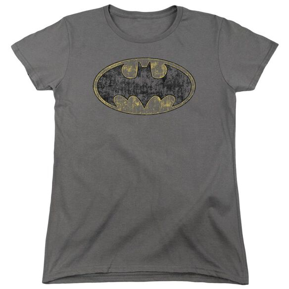 Batman Tattered Logo Short Sleeve Womens Tee T-Shirt