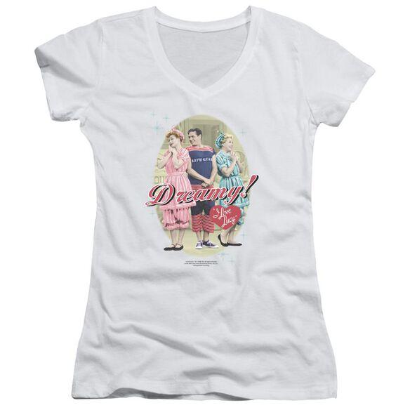 I Love Lucy Dreamy! Junior V Neck T-Shirt