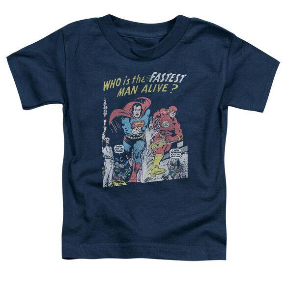 Jla Fastest Man Short Sleeve Toddler Tee Navy T-Shirt