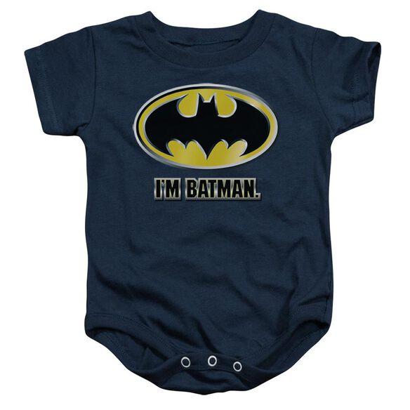 Batman I'm Batman Infant Snapsuit Navy Lg