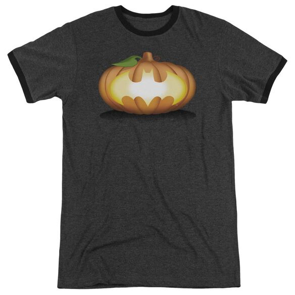 Batman Bat Pumpkin Logo Adult Heather Ringer Charcoal
