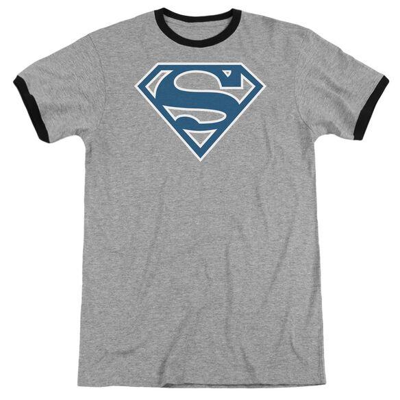 Superman Blue & White Shield Adult Ringer Heather Black