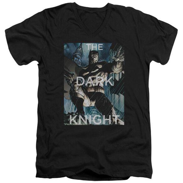 Batman Fighting The Storm Short Sleeve Adult V Neck T-Shirt