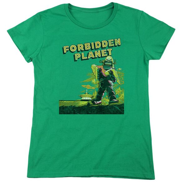 Forbidden Planet Old Poster Short Sleeve Womens Tee Kelly T-Shirt