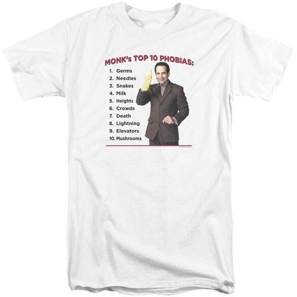 Monk Top 10 Phobias Short Sleeve Adult Tall T-Shirt