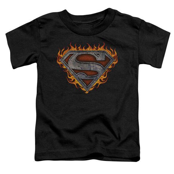 Superman Iron Fire Shield Short Sleeve Toddler Tee Black Lg T-Shirt