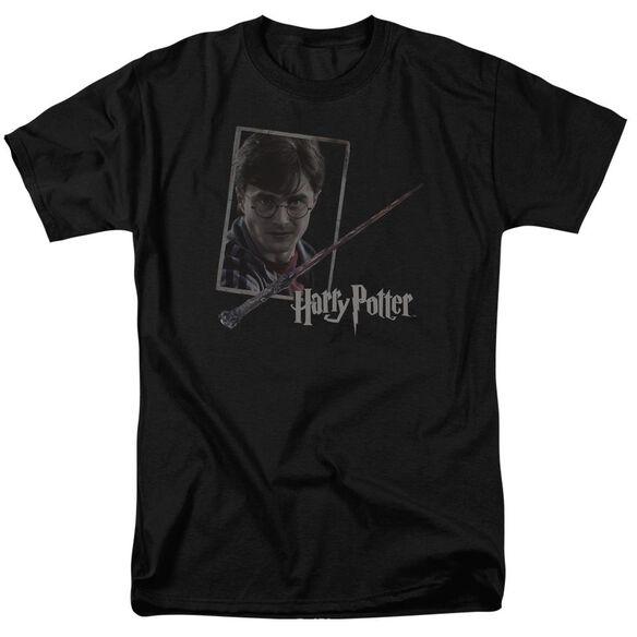 Harry Potter Harrys Wand Portrait Short Sleeve Adult Black T-Shirt