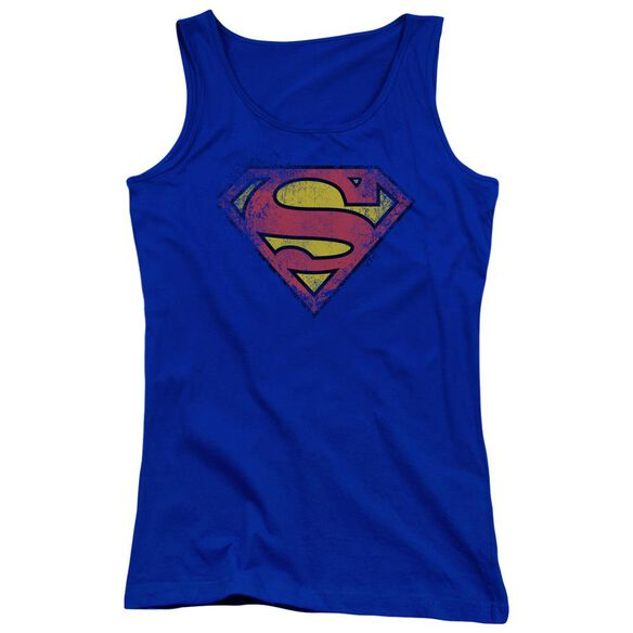 Superman Destroyed Supes Logo Juniors Tank Top Royal