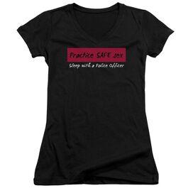 Practice Safe Sex Junior V Neck T-Shirt