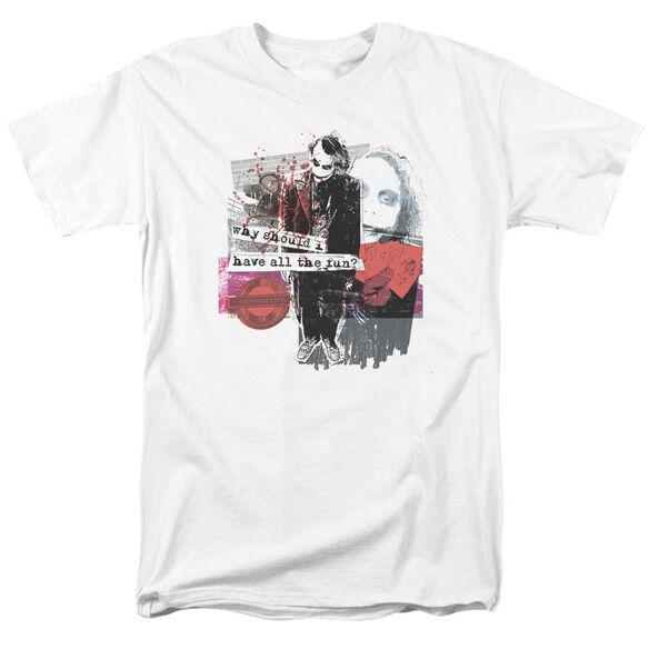 Dark Knight Share The Joy Short Sleeve Adult White T-Shirt
