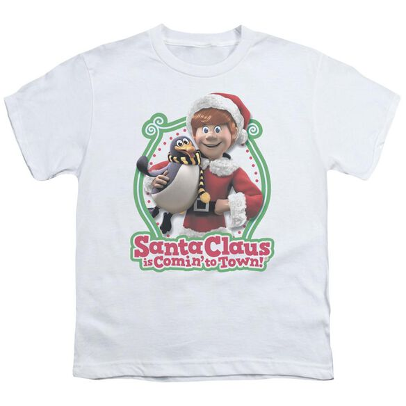 Santa Claus Is Comin To Town Penguin Short Sleeve Youth T-Shirt