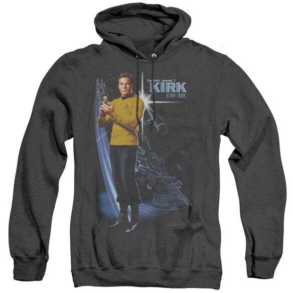 Star Trek Galactic Kirk - Adult Heather Hoodie - Black
