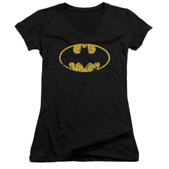 Batman Classic Logo Distressed Junior V Neck T-Shirt