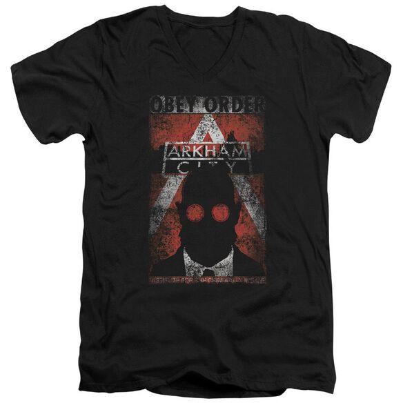 Arkham City Obey Order Poster Short Sleeve Adult V Neck T-Shirt