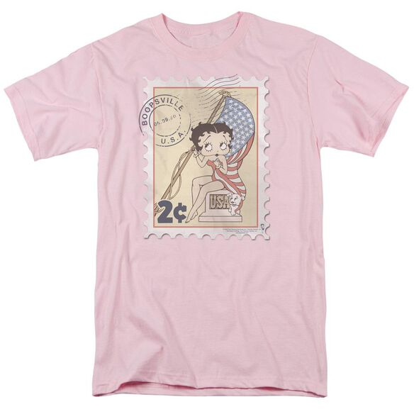 Betty Boop Vintage Stamp Short Sleeve Adult Pink T-Shirt
