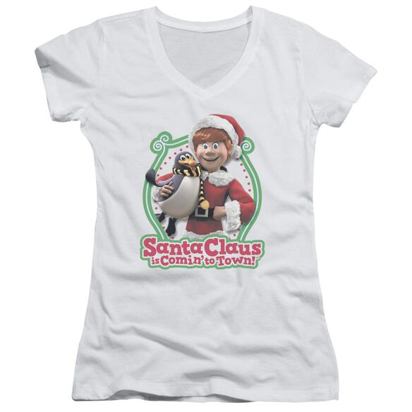 Santa Claus Is Comin To Town Penguin Junior V Neck T-Shirt